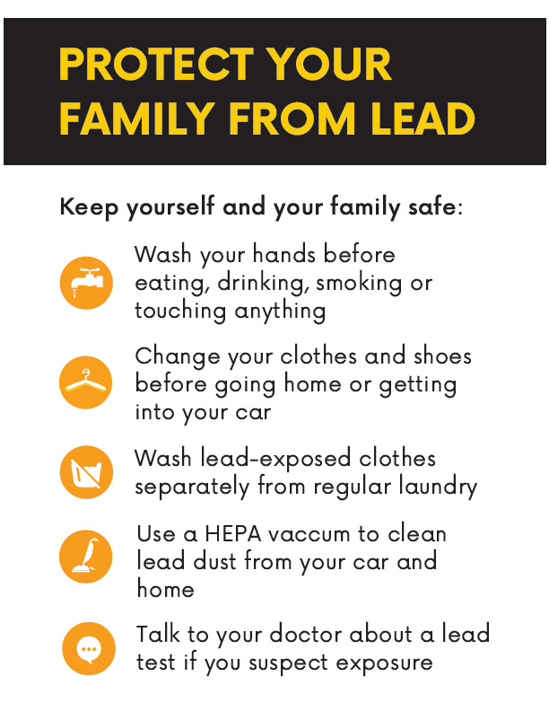 Protect Your Family From Lead. Follow these recommendations to keep yourself and your family safe. Wash your hands before eating, drinking, smoking or touching anything. Change your clothes and shoes before going home or getting into your  car. Wash lead-exposed clothes separately from regular laundry. Use a HEPA vaccuum to clean lead dust from your car and home. Talk to your doctor about a lead test if you suspect exposure.